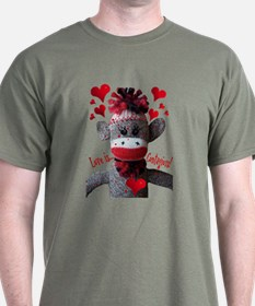 Love is Contagious Sock Monkey Valentine T-Shirt