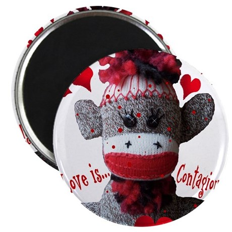 Love is Contagious Sock Monkey Valentine Magnet