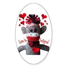 Love is Contagious Sock Monkey Valentine Decal