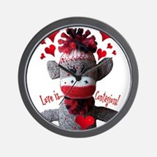 Love is Contagious Sock Monkey Valentine Wall Cloc