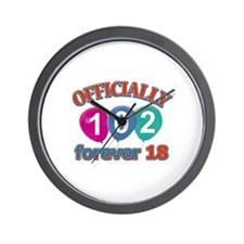Officially 102 forever 18 Wall Clock