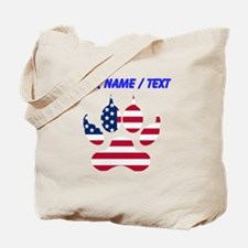 Custom American Flag Wolf Paw Tote Bag