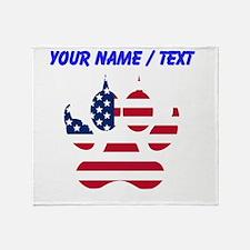 Custom American Flag Wolf Paw Throw Blanket