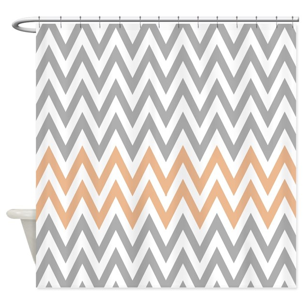 Gray And Pale Orange Chevrons Shower Curtain By RetroCulture