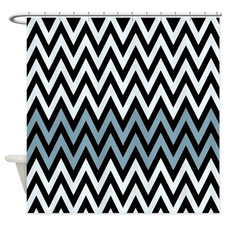 Silver Black And Blue Chevrons Shower Curtain By RetroCulture