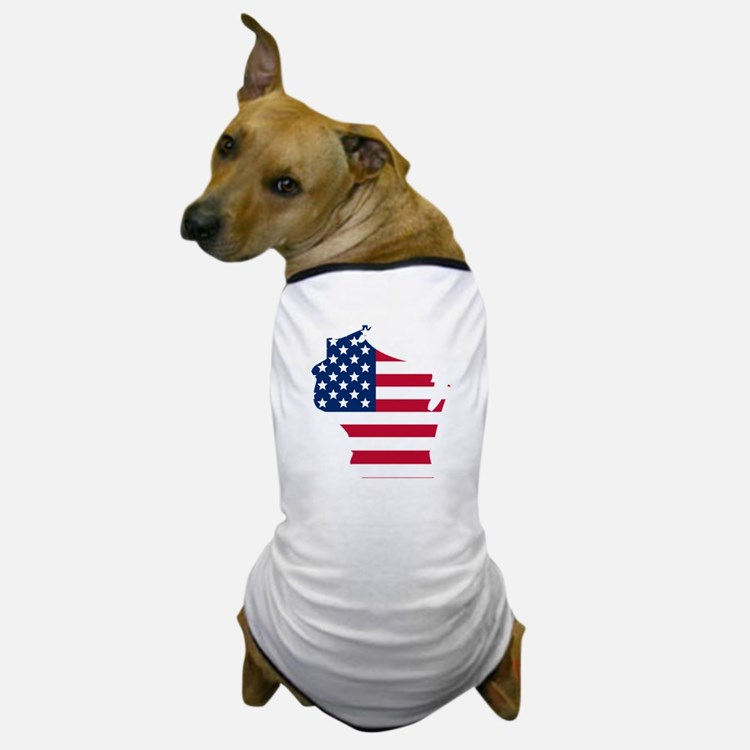 Wisconsin American Flag Dog T-Shirt