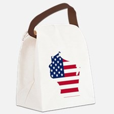 Wisconsin American Flag Canvas Lunch Bag