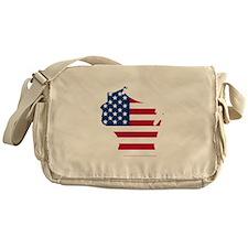 Wisconsin American Flag Messenger Bag