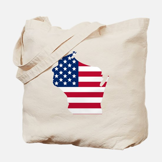 Wisconsin American Flag Tote Bag