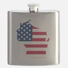 Wisconsin American Flag Flask