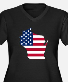 Wisconsin American Flag Plus Size T-Shirt