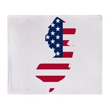 New Jersey American Flag Throw Blanket