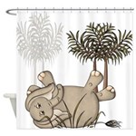 Cute Elephant Baby Shower Curtain