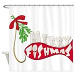 Merry Fishmas Mistletoe Shower Curtain