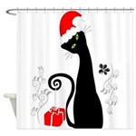 Modern Christmas Kitty Shower Curtain
