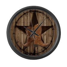 cute western cowgirl Large Wall Clock
