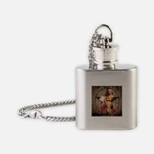 cute western cowgirl pin up girl Flask Necklace