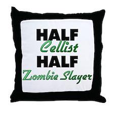 Half Cellist Half Zombie Slayer Throw Pillow