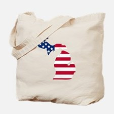 Michigan American Flag Tote Bag