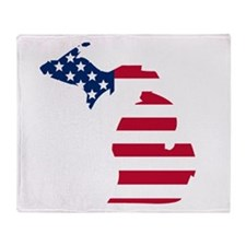 Michigan American Flag Throw Blanket