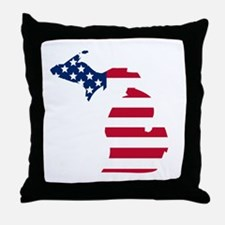 Michigan American Flag Throw Pillow