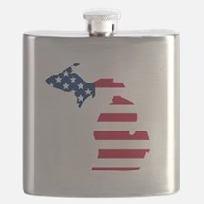 Michigan American Flag Flask