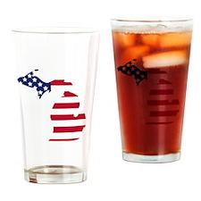 Michigan American Flag Drinking Glass
