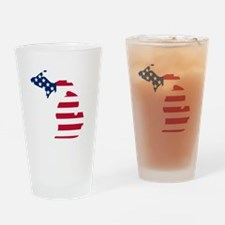 Michigan American Flag Drinking Glass