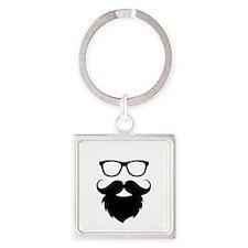 Full Beard Square Keychain