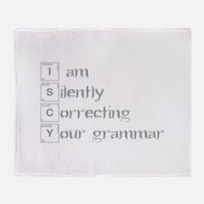 correcting-grammar-break-gray Throw Blanket