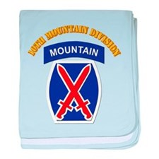 SSI - 10th Mountain Division with Text baby blanke