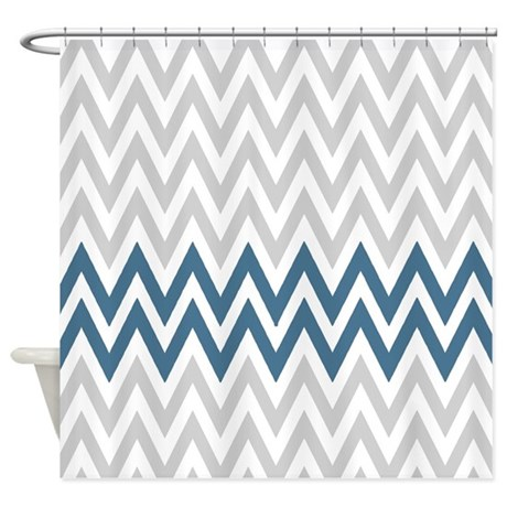 Gray And Navy Chevrons Shower Curtain By RetroCulture