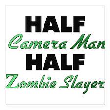 Half Camera Man Half Zombie Slayer Square Car Magn