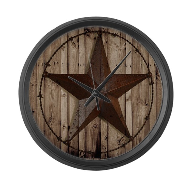 Western Texas Star Large Wall Clock By Therusticcottage