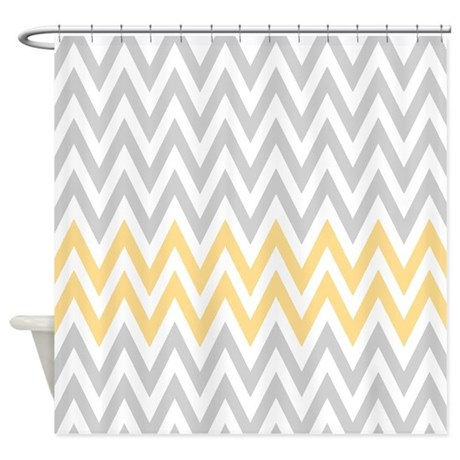 Gray And Yellow Chevrons Shower Curtain By RetroCulture