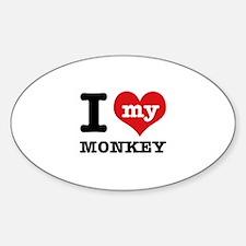 I love my MONKEY Sticker (Oval)