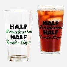Half Broadcaster Half Zombie Slayer Drinking Glass