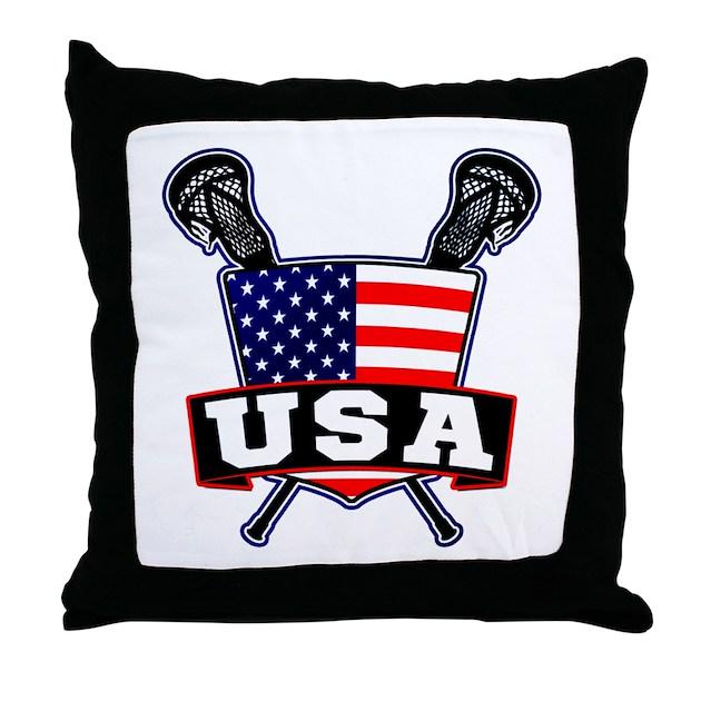 Throw Pillows Usa : Team USA Lacrosse Logo Throw Pillow by gamefacegear