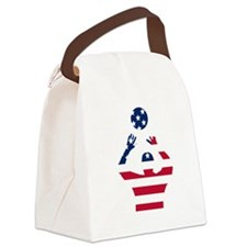 American Flag Volleyball Set Canvas Lunch Bag
