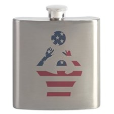 American Flag Volleyball Set Flask