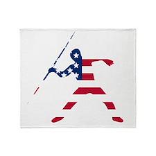 American Flag Javelin Throw Throw Blanket