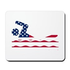 American Flag Swimmer Mousepad