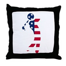 American Flag Golfer Throw Pillow