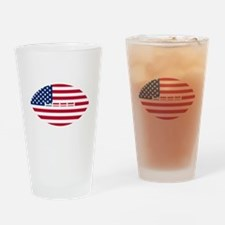 American Flag Football Drinking Glass