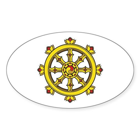 Dharmachakra Wheel Sticker (Oval)