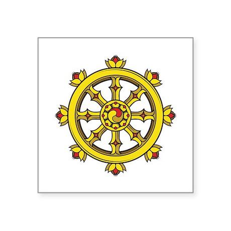 "Dharmachakra Wheel Square Sticker 3"" x 3"""