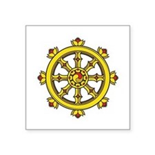 "Dharmachakra Wheel Square Sticker 3"" x 3"""