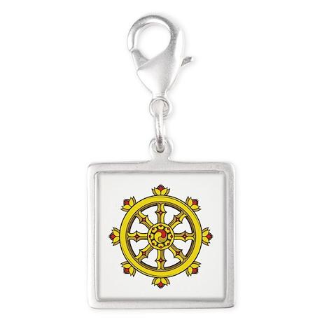 Dharmachakra Wheel Silver Square Charm