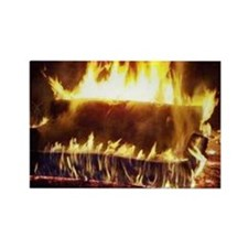 Couch on Fire Rectangle Magnet