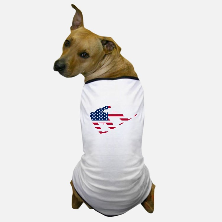 American Flag Snowboarder Dog T-Shirt